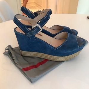 PRADA Cadet Blue Suede Wedge Sandals Sz: 391/2